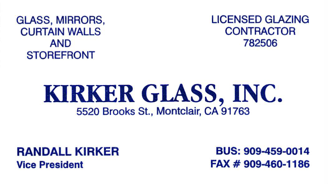 Kirker Glass Business Card