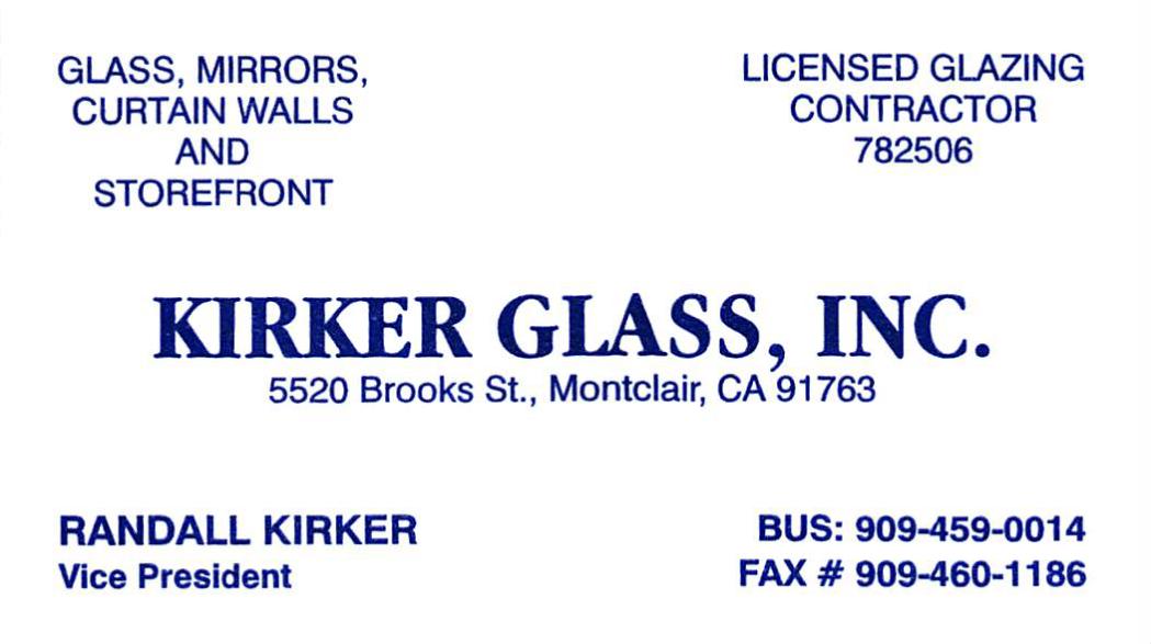 Kirker Glass Business Card